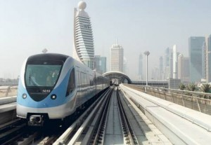 *  A Dubai Metro train zooms along the Red Line. The UAE and Saudi Arabia dominate spending on rail, road and public transportation.