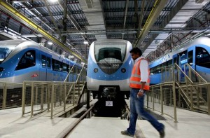 # As soon as the Metro service stops at night, the trains start moving to the sheds in Jebel Ali and Al Rashidiya Depots. Though all the trains are cleaned every day, each train is washed once every three days in automatic washing bays. It takes five to seven minutes to wash a train. # Image Credit: Francois Nel/Gulf News