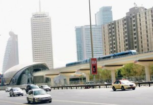 *  A train leaves the World Trade Centre Station on Shaikh Zayed Road.     * Image Credit: Virendra Saklani/Gulf News