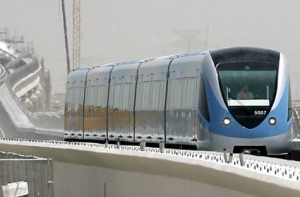 *  The Dubai Metro train is tested on a stretch of completed track opposite the Jebel Ali Free Zone in this file photo.     * Image Credit: Gulf News Archive