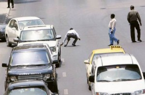 *  Image Credit: Virendra Saklani/Gulf News Archives     * Pedestrians risk their lives and distract motorists by crossing a busy road in Dubai. Many people do this because they do not have any option. The RTA is addressing such issues.