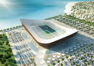 "The Al-Shamal stadium's shape was derived from the traditional ""dhow"", the local fishing boats of the Arabian Gulf Picture: Qatar 2022 via Getty Images"