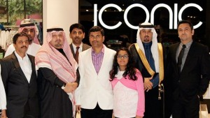 Al-Shatea Mall General Manager Fahmi F. Emran, 2nd left, with Centrepoint Chief Operating Officer T.S. Vedapuri, center, and other company executives and guests at the launch of the Iconic fashion store in Dammam. (AN photo by Imran Haider)