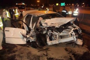 Accidents like this one, where a woman was killed and three others were injured, are on the decrease, according to the latest police figures.  Courtesy of Dubai Police