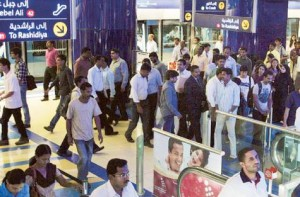 Image Credit: Pankaj Sharma/Gulf News     A file photo of commuters at Khalid Bin Al Waleed Metro Station
