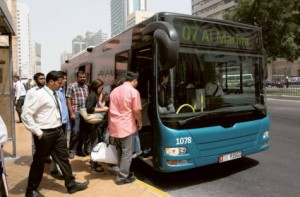 Image Credit: Abdul Rahman/Gulf News     The new fare structure unifies public transport tariffs throughout the emirate, making it Dh2 within Abu Dhabi city, while in the suburbs the tariff will start from Dh2 in addition to 5 fils per km, with Dh5 being the average.