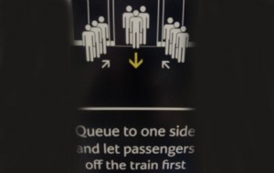 The notice on Dubai Metro telling people how to queue. (SUPPLIED)