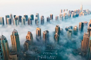 A view of Dubai Marina on Sunday morning as fog rolled in. Picture courtesy Media One Hotel.