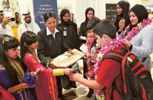 Image Credit: Courtesy: Dubai Festivals and Retail Est A Kuwaiti family is greeted with treats and gifts on their arrival at Dubai International airport.