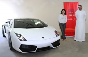 Olivera Mitrovic... lucky winner of the exquisite Lamborghini Gallardo (SUPPLIED)