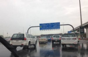 Rain slowed Shaikh Zayed Road in Dubai to a standstill on Wednesday morning. Picture: Jamie Goodwin