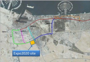 Four possible Metro extensions to Expo site. (Supplied)