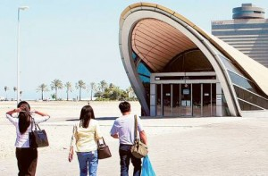 Image Credit: Zarina Fernandes/Gulf News The 'No Fish' signs Palm Deira Metro Station, there is a fish market near the station and apparently shoppers are taking smelly fish on board.