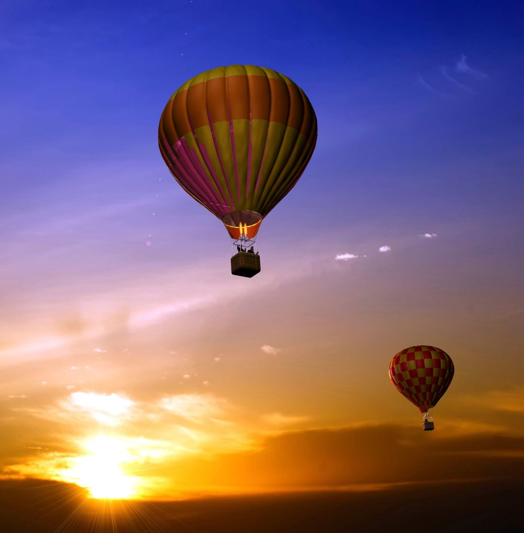 Balloons at sunset