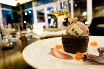 (Course Four) This collection found its edible twin in the Half-baked Chocolate, Raspberry Hibiscus Ice-cream
