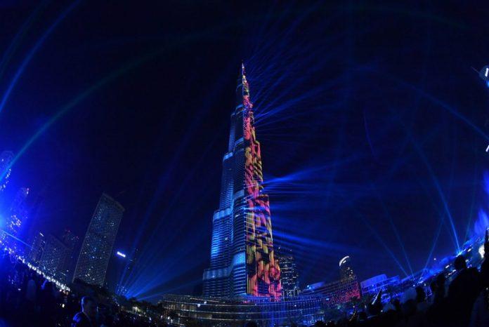 2018 burj khalifa new year eve laser show