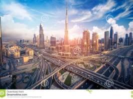Dubai's Skyline With Beautiful Houses & Roads