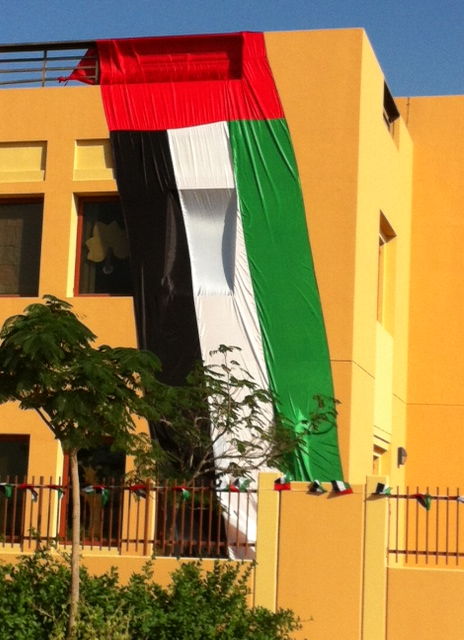 People decorate their cars and homes with the UAE flag – this was the flag at BB's school. All the children wore national colours, or national dress, on Thursday to celebrate