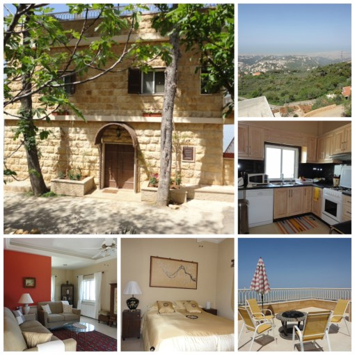 From my in-laws' two-bedroom guesthouse, there are 360-panoramic views of the Mediterranean and surrounding olive groves. Nestled in the mountains just 30 minutes from downtown Beirut and 15 minutes from the airport, it's a tucked-away retreat, located 700m above the city's humidity.