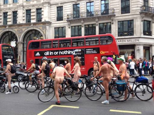 Less gas, more arse: Cyclists take part in June's annual World Naked Bike Ride in central London to protest against car culture #Uncomfortable
