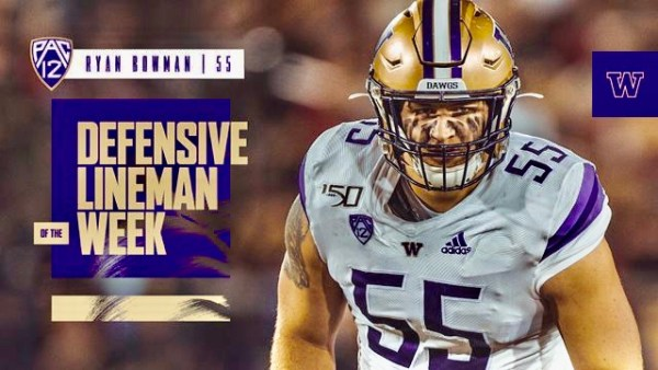 Senior Ryan Bowman Named Pac-12 Defensive Lineman Of The Week