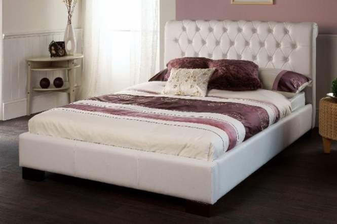 Limelight Aries White Faux Leather Double Bed Frame