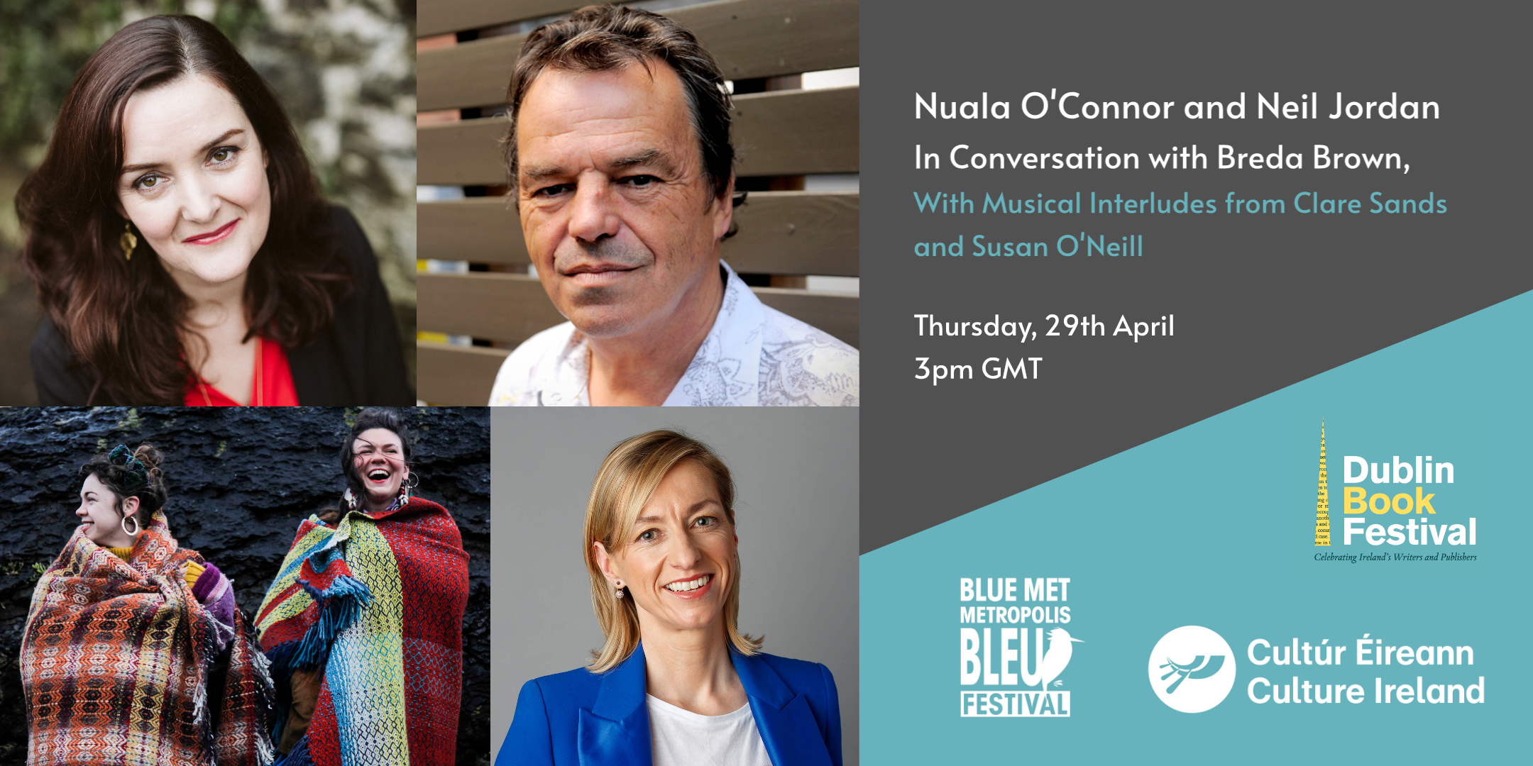 Event image includes headshots of Nuala O'Connor, Neil Jordan, Clare Sands, Susan O'Neill and Breda Brown. Includes logos of DBF, Blue Metropolis and Culture Ireland