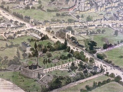 Pleasure gardens at Portobello 1846, detail from a Bird's Eye view of Dublin, published in the London Illustrated News 1846