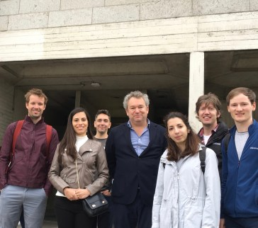 Arran Henderson of Dublin Decoded Tours with guests from Glenn Howells architects group outside Trinity College Berkley Library