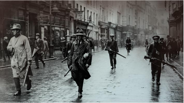 Anti-Treaty E. Coy A.S.U. 3rd Batt. Dublin Brigade IRA patrolling on Grafton Street July 1921