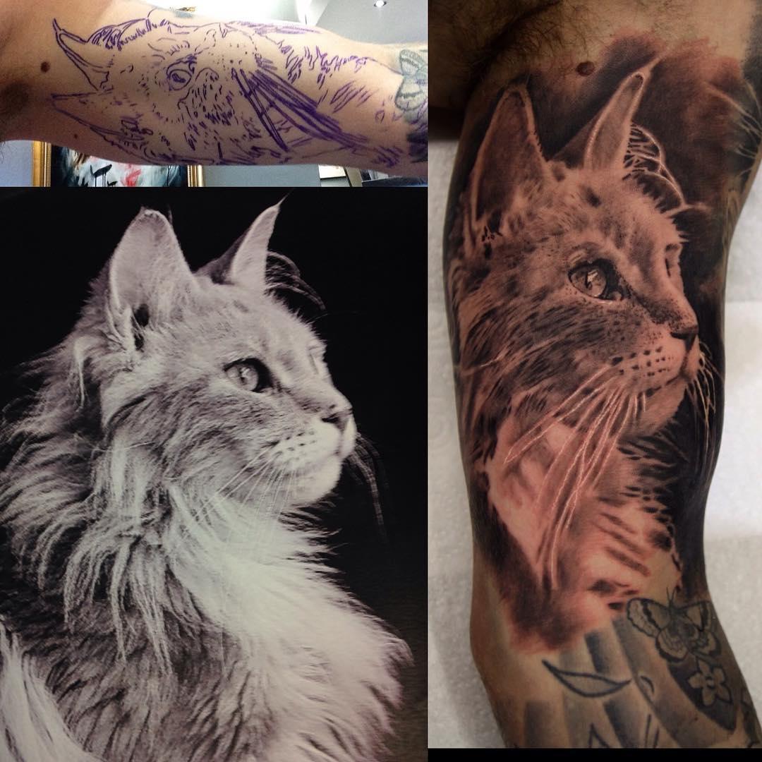 Cat Tattoo Portrait  Best Tattoo Ideas Gallery