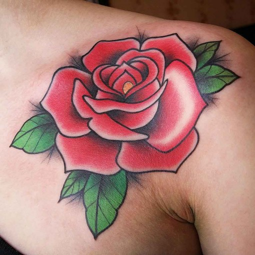 New School Rose Tattoo Front Shoulder  Best Tattoo Ideas