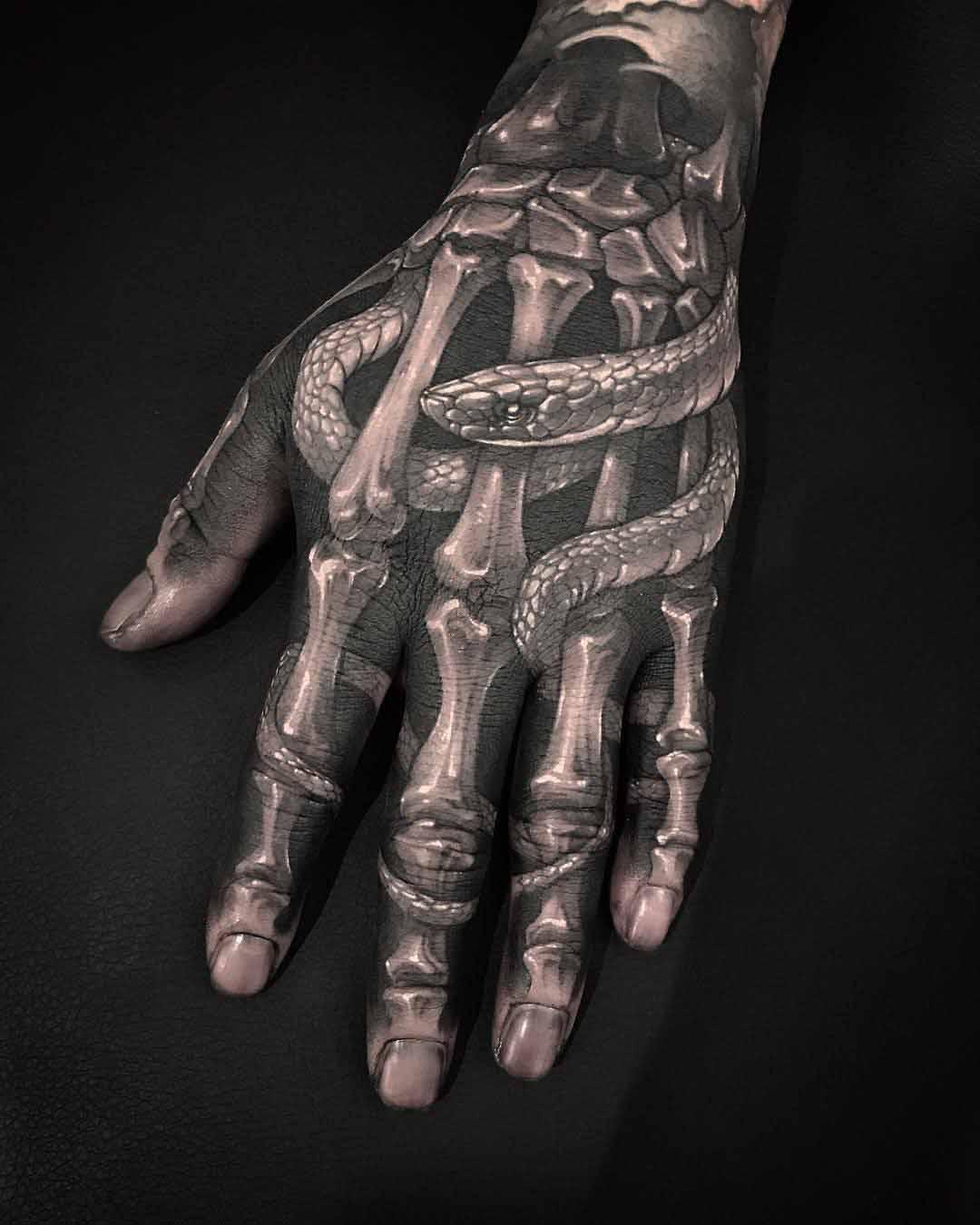 Hand Skeleton Tattoo : skeleton, tattoo, Skeleton, Tattoo, Snake, Ideas, Gallery