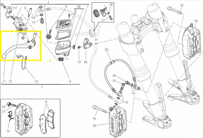 Brembo Front Brake Lever for Ducati 1200, Diavel