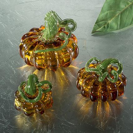 ZUCCA  AMBRA & VERDE L 15/19/23 cm Amber & Green  Pumpkin