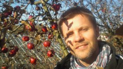 Zadowolony bo siedzi na drzewie, i je jabłuszka na słonku