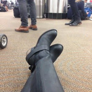 My fluevogs, taking a well-deserved rest on the floor of the Minneapolis airport.