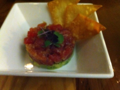 Tuna Tartare (avocado yuzu mousse, soy dressing, wonton chips)
