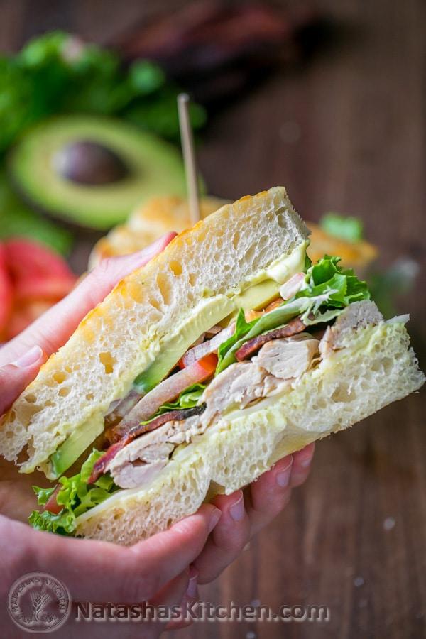 Chicken bacon avocado sandwich with secret sauce
