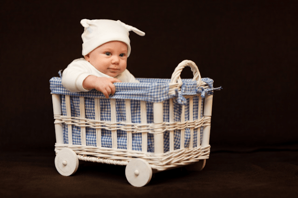 cute baby in a basket; baskets