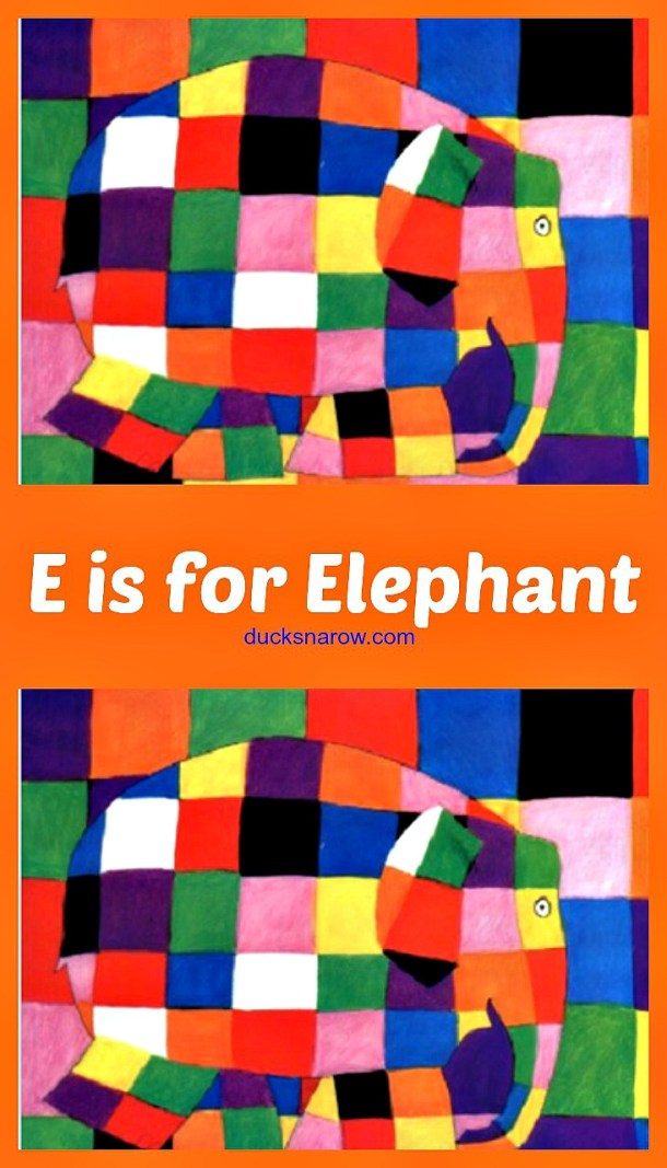 E is for Elephant preschool lesson with adorable craft based on the Elmer the Elephant books #ad