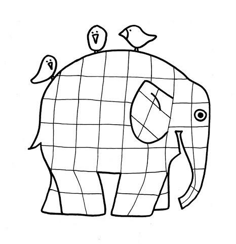 Template Elmer the Patchwork Elephant