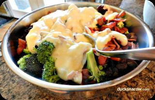 Broccoli Salad w Mayonnaise, bacon, raisins and more. #salad Ducks 'n a Row