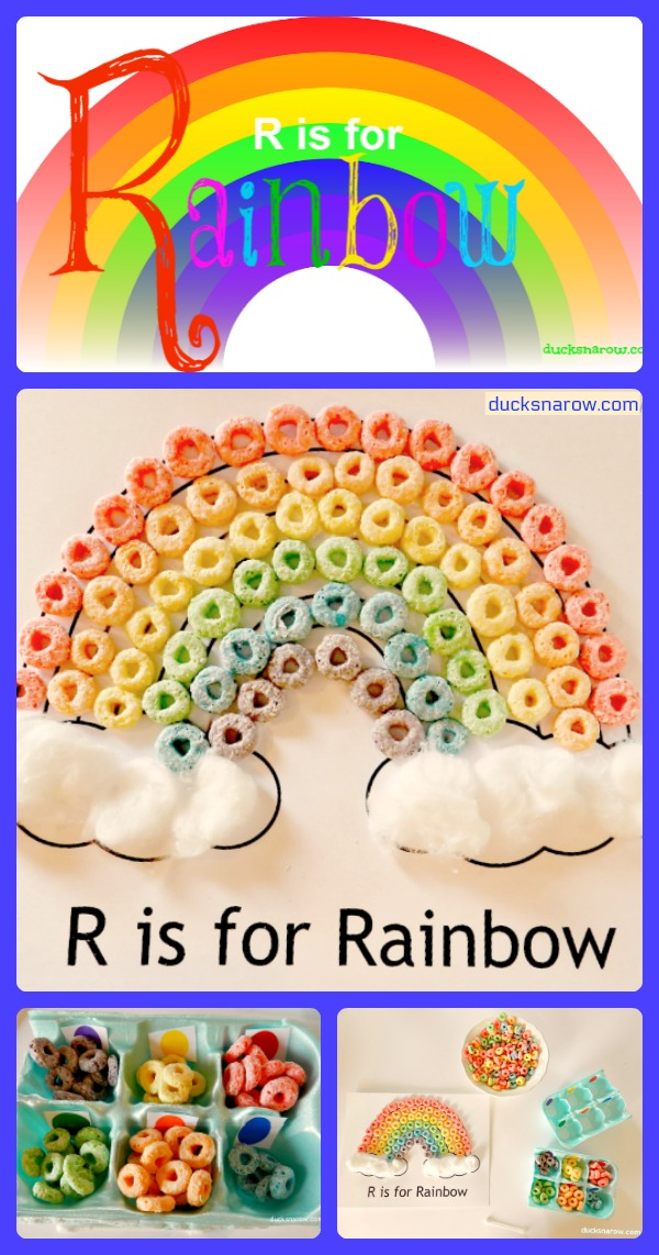 Teach preschoolers about rainbows with this fun R is for Rainbow craft and sorting activity! #preschool #ece