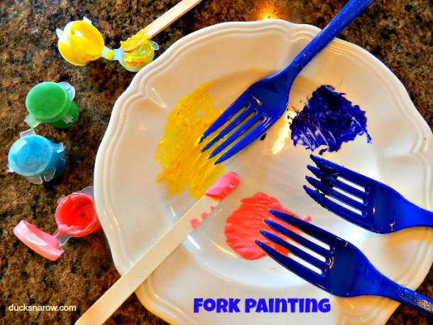 fork painting for kids