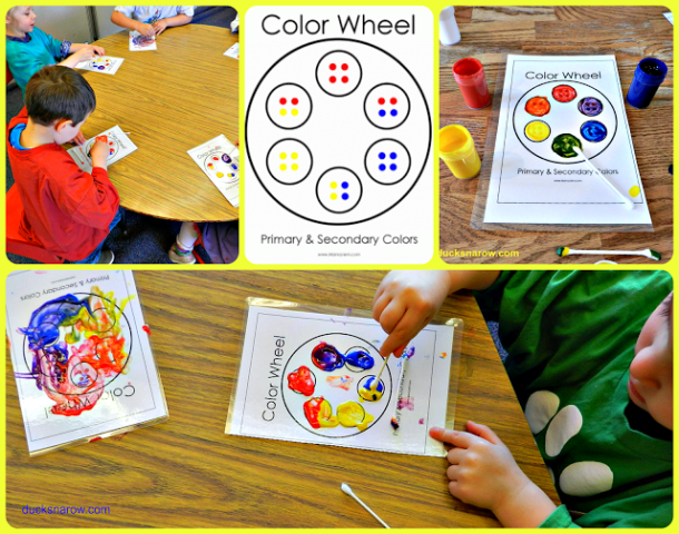 Y is for Yellow preschool lesson - children blending primary colors to make new colors.