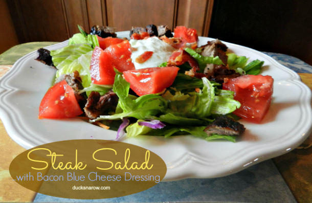 Steak salad with homemade bacon blue cheese dressing #lowcarb