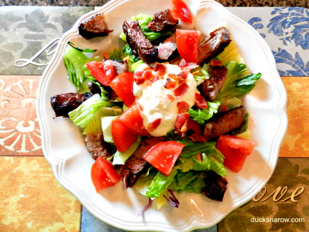 Steak salad with homemade bacon blue cheese dressing #recipes