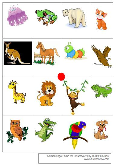 graphic regarding Animal Bingo Printable named Preschool Bingo Match With Totally free Printables - Ducks n a Row