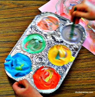 shaving cream activities, preschool, kindergarten, painting, kids fun